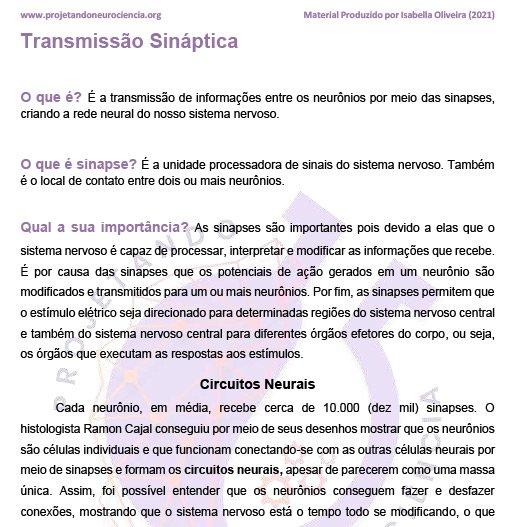 Resumo - Transmissões Sinápticas