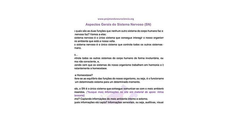 Resumo Aspectos Gerais do Sistema Nervoso